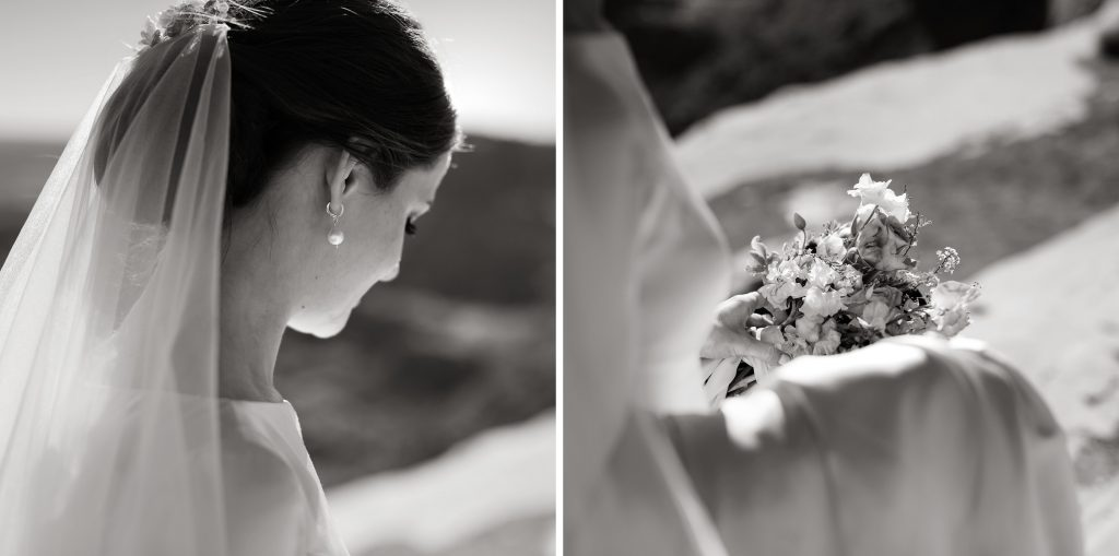 Blakc and white of bride in canyonlands