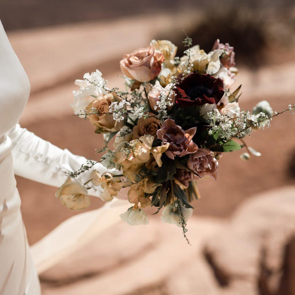 wild wedding bouquet in desert