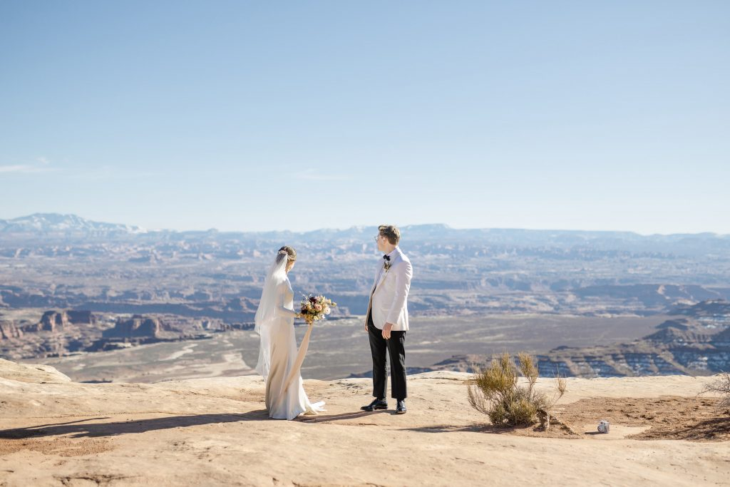 Bride and Groom overlooking Canyonlands National Park