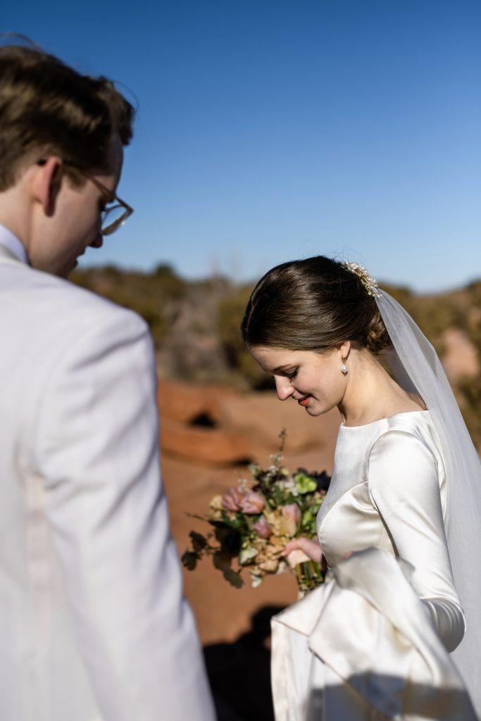 Bride and groom in Utah's desert