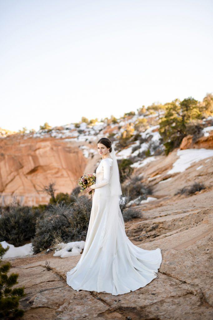 Back of bridal dress in desert