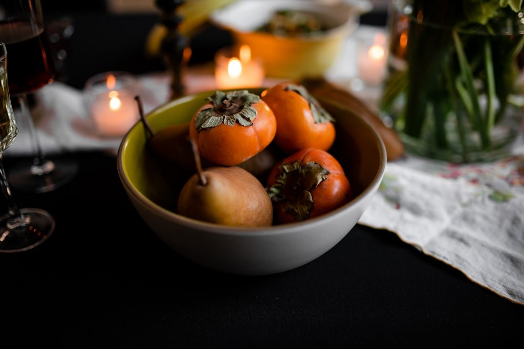 Persimmons and Pears in bowl