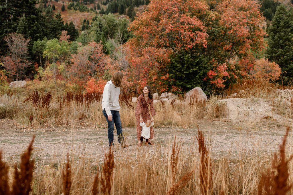 Playful fall family photos at Snowbasin resort