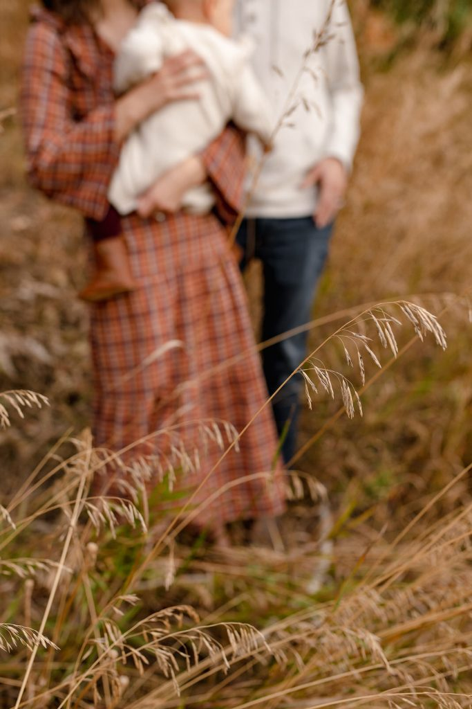 Blurred photo of family in dried grass