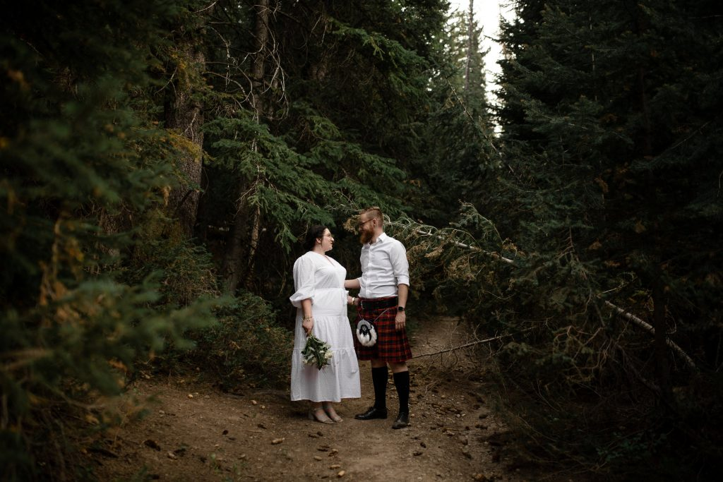 Couple wearing kilt at Jordan Pines Campground