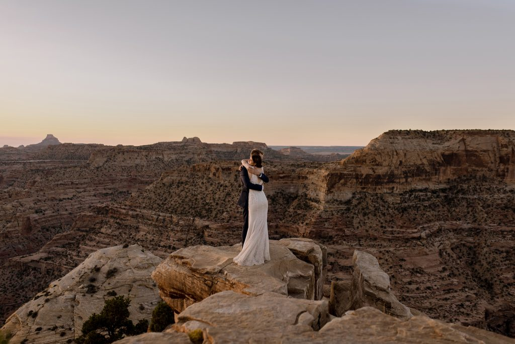 Wedding overlooking Utah's desert