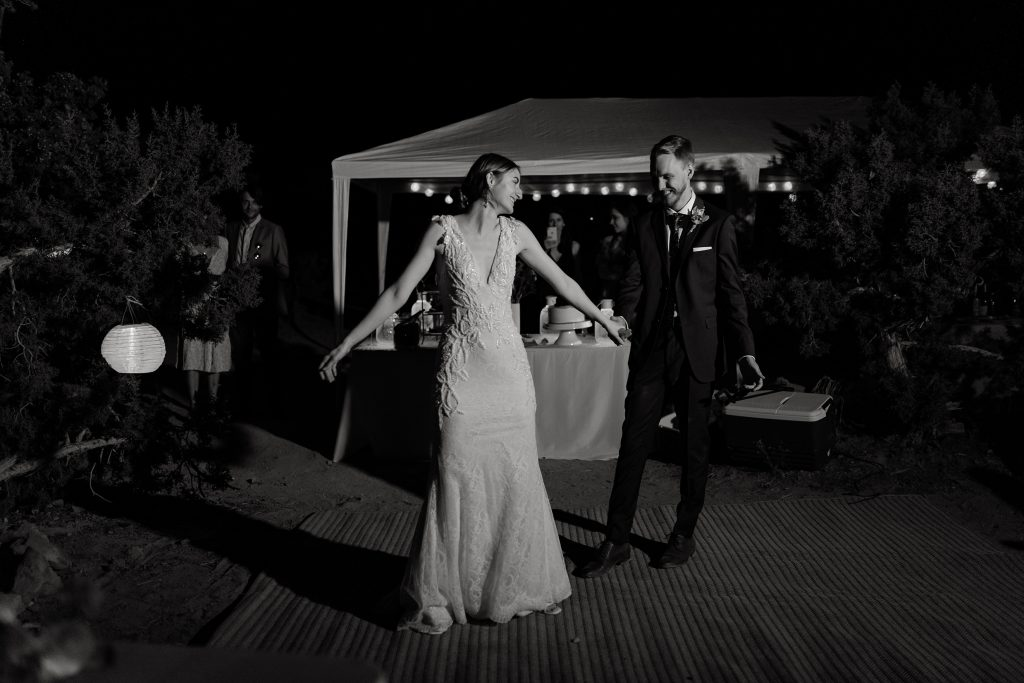 Couple dancing at their desert wedding
